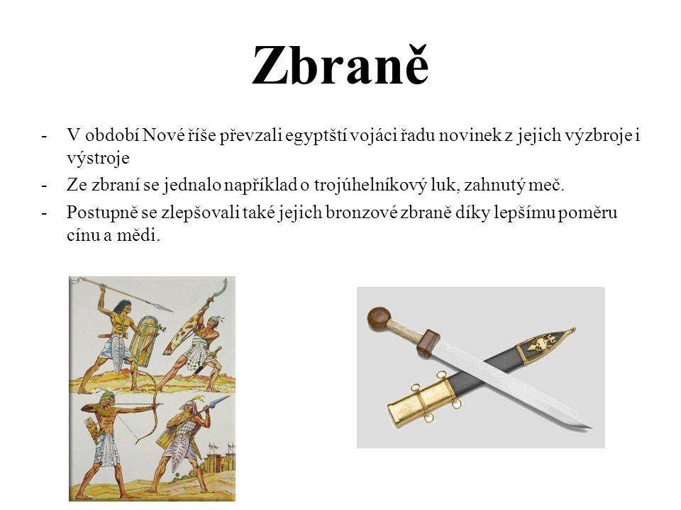 Zbraně -V období Nové říše převzali egyptští vojáci řadu novinek z jejich výzbroje i výstroje -Ze zbraní se jednalo například o trojúhelníkový luk, zahnutý meč.