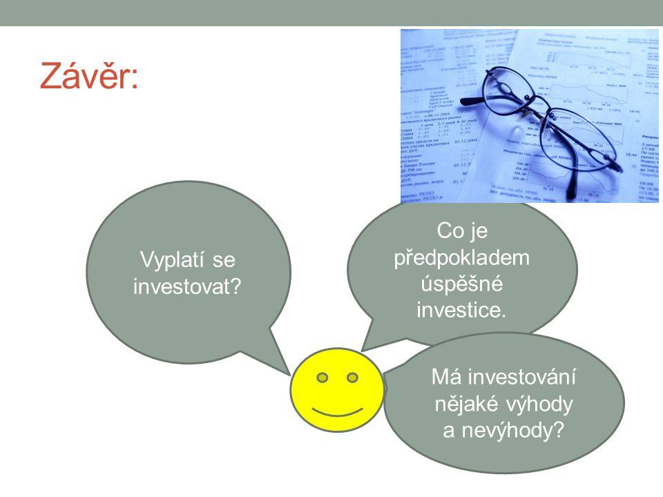 Závěr: Vyplatí se investovat. Co je předpokladem úspěšné investice.