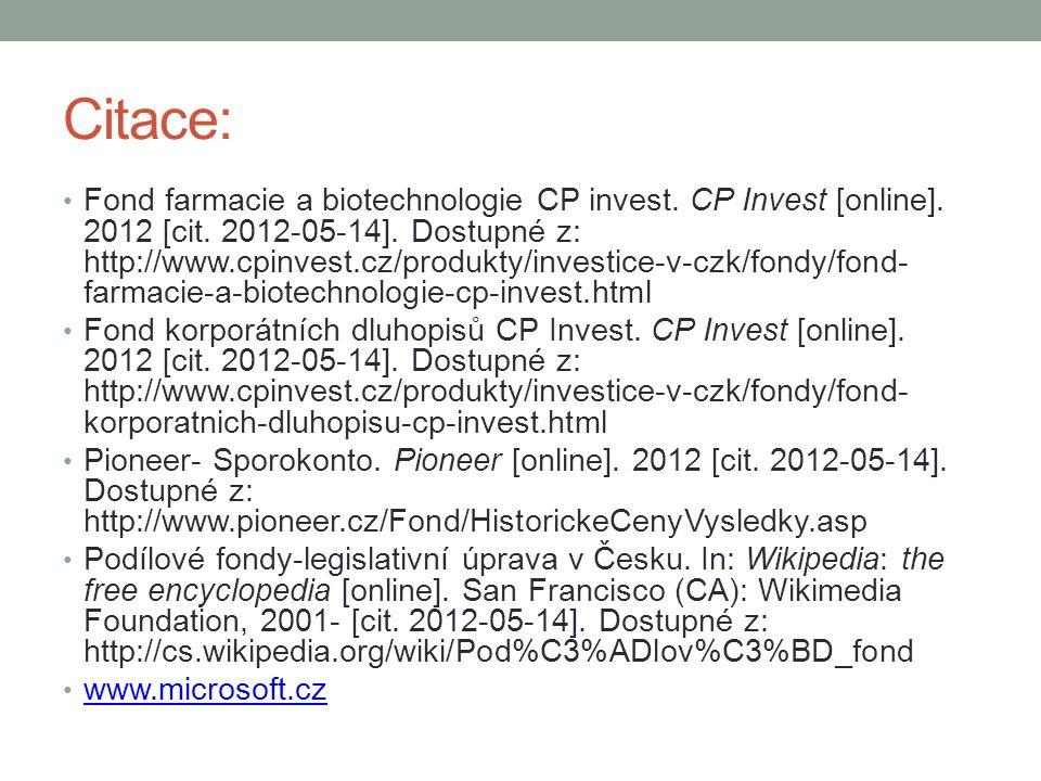 Citace: Fond farmacie a biotechnologie CP invest. CP Invest [online].