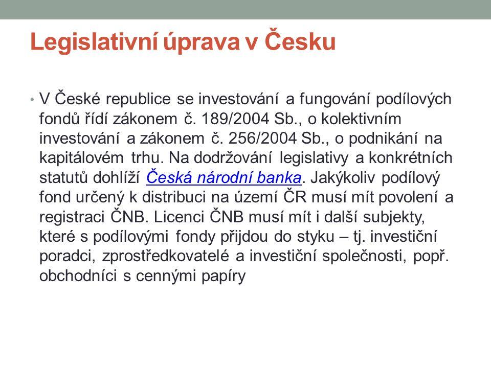 Legislativní úprava v Česku V České republice se investování a fungování podílových fondů řídí zákonem č.