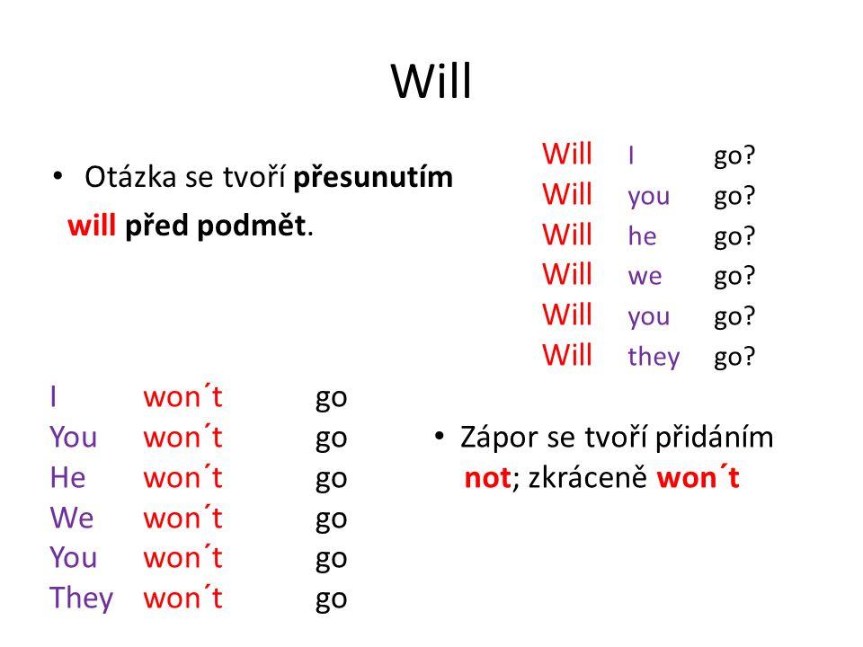 Will Otázka se tvoří přesunutím will před podmět. Will Igo.