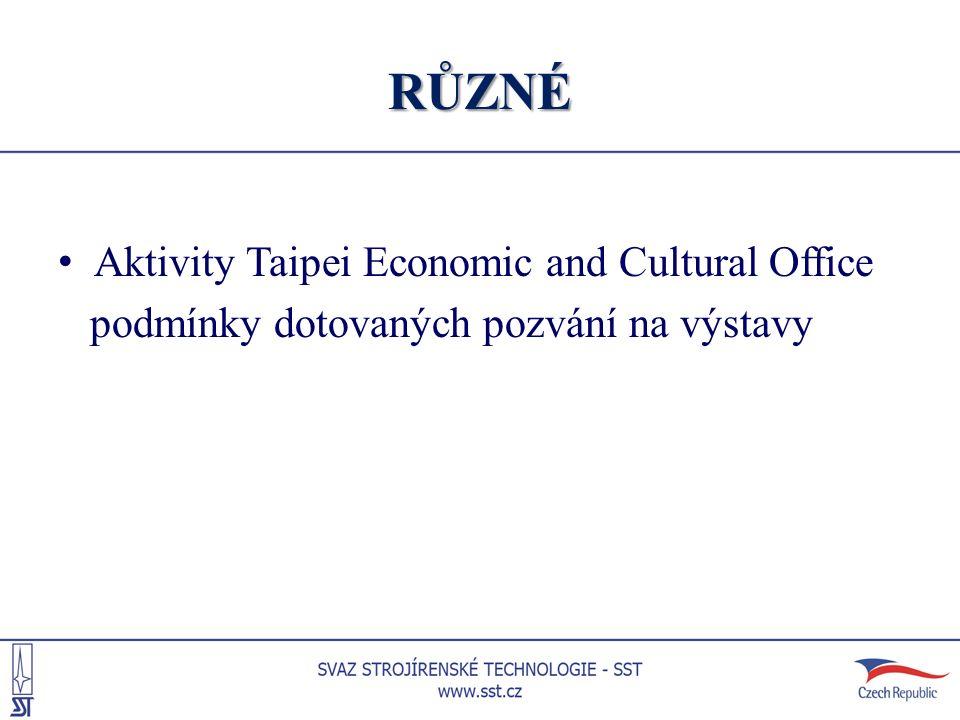 RŮZNÉ Aktivity Taipei Economic and Cultural Office podmínky dotovaných pozvání na výstavy
