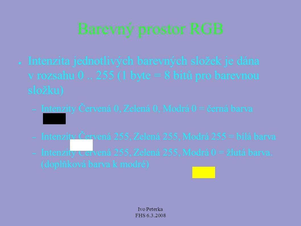 Ivo Peterka FHS 6.3.2008 Barevný prostor RGB ● Celkový počet kombinací pro barevné složky: – 256 * 256 * 256 = 16777216 – Barevná hloubka TrueColor – I dnes se stále používá barevná hloubka HighColor (především na mobilních zařízeních) ● Pro jednotlivé složky 5 bitů, 5 bitů, 6 bitů – 65536 barev ● Z TrueColor zápisu se použila nejbližší barva v HighColor.