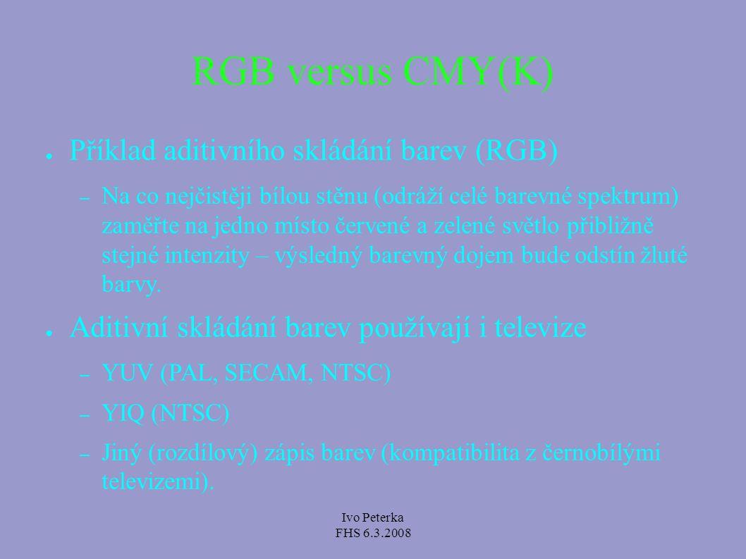 Ivo Peterka FHS 6.3.2008 Zápis barvy v CSS ● V CSS můžeme barvu zapsat jako RGB trojici – body { color: rgb(50, 50, 255);} ● Světle modrá barva.
