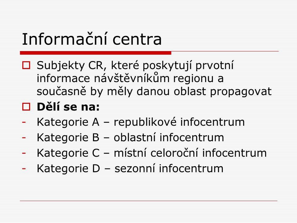 Informační centra  Subjekty CR, které poskytují prvotní informace návštěvníkům regionu a současně by měly danou oblast propagovat  Dělí se na: -Kate