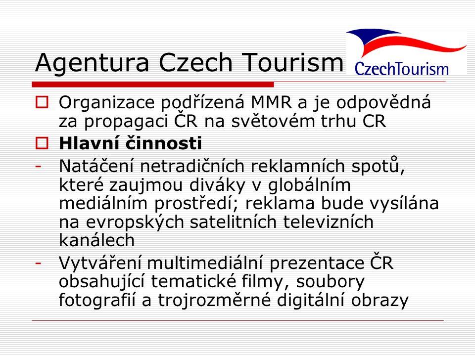 Agentura Czech Tourism  Organizace podřízená MMR a je odpovědná za propagaci ČR na světovém trhu CR  Hlavní činnosti -Natáčení netradičních reklamní