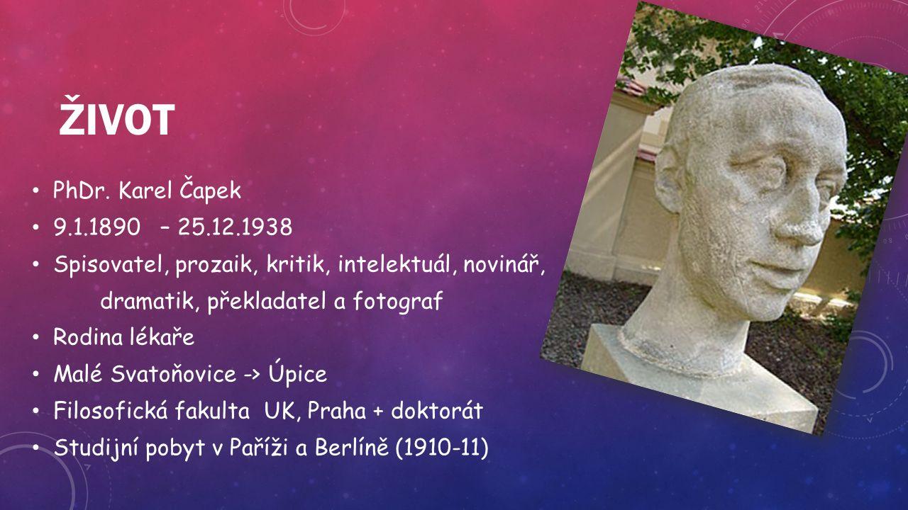 ŽIVOT PhDr. Karel Čapek 9.1.1890 – 25.12.1938 Spisovatel, prozaik, kritik, intelektuál, novinář, dramatik, překladatel a fotograf Rodina lékaře Malé S