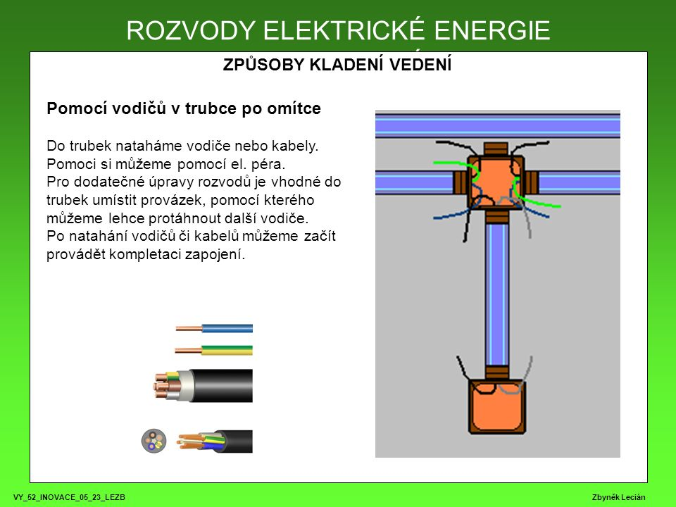 VY_52_INOVACE_05_23_LEZB Zbyněk Lecián ROZVODY ELEKTRICKÉ ENERGIE ZPŮSOBY KLADENÍ VEDENÍ ROZVODY ELEKTRICKÉ ENERGIE Pomocí vodičů v trubce po omítce Do trubek nataháme vodiče nebo kabely.