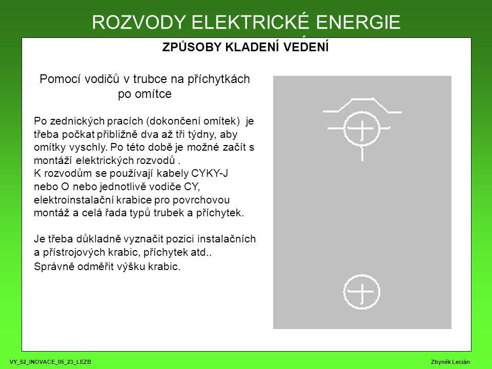 VY_52_INOVACE_05_23_LEZB Zbyněk Lecián ROZVODY ELEKTRICKÉ ENERGIE ZPŮSOBY KLADENÍ VEDENÍ ROZVODY ELEKTRICKÉ ENERGIE Pomocí vodičů v trubce na příchytkách po omítce Po zednických pracích (dokončení omítek) je třeba počkat přibližně dva až tři týdny, aby omítky vyschly.