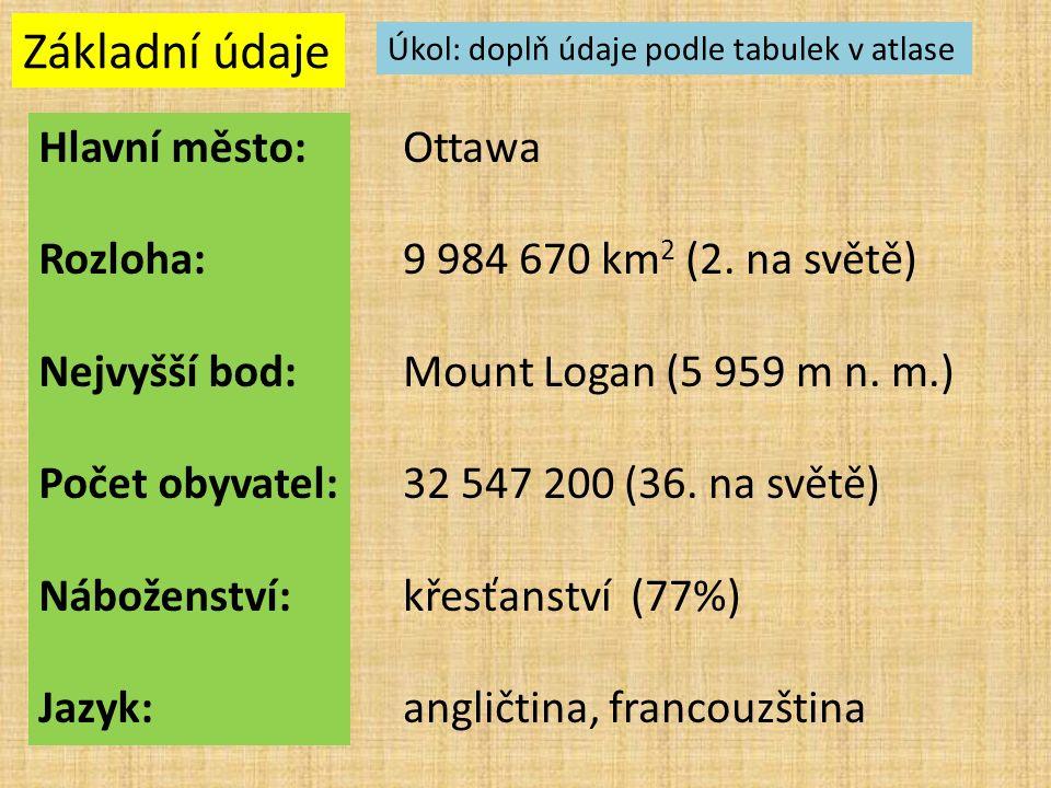 Základní údaje Hlavní město: Rozloha: Nejvyšší bod: Počet obyvatel: Náboženství: Jazyk: Úkol: doplň údaje podle tabulek v atlase Ottawa 9 984 670 km 2 (2.