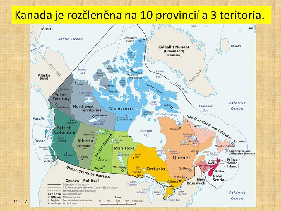 Kanada je rozčleněna na 10 provincií a 3 teritoria. Obr. 7
