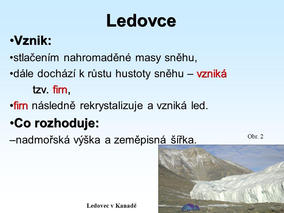 Rozdělení ledovců Pevninské Pevninské – najdeme je na pevnině, – většinou ve vyšších zeměpisných šířkách (tzn.
