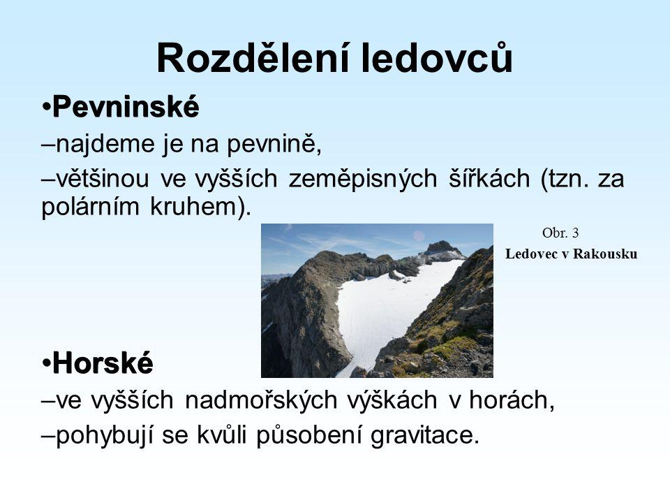 Rozdělení ledovců Pevninské Pevninské – najdeme je na pevnině, – většinou ve vyšších zeměpisných šířkách (tzn. za polárním kruhem). Horské Horské – ve