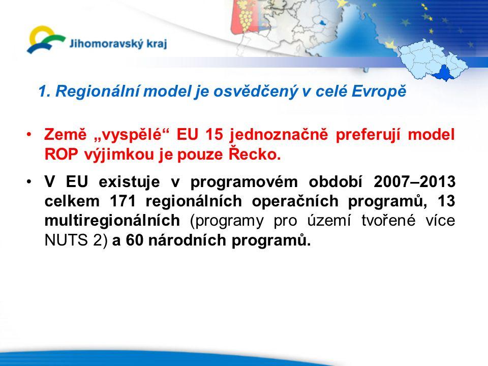 """1. Regionální model je osvědčený v celé Evropě Země """"vyspělé"""" EU 15 jednoznačně preferují model ROP výjimkou je pouze Řecko. V EU existuje v programov"""