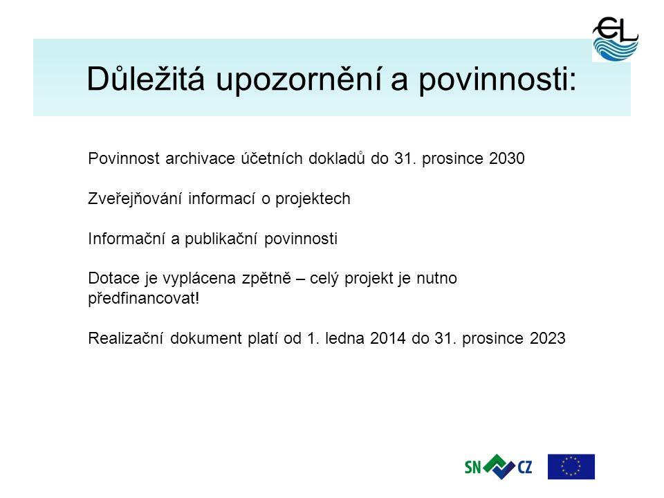 11 Důležitá upozornění a povinnosti: Povinnost archivace účetních dokladů do 31. prosince 2030 Zveřejňování informací o projektech Informační a publik