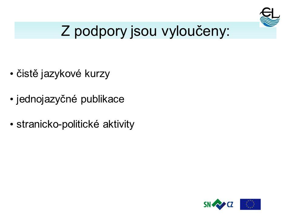 4 Z podpory jsou vyloučeny: čistě jazykové kurzy jednojazyčné publikace stranicko-politické aktivity