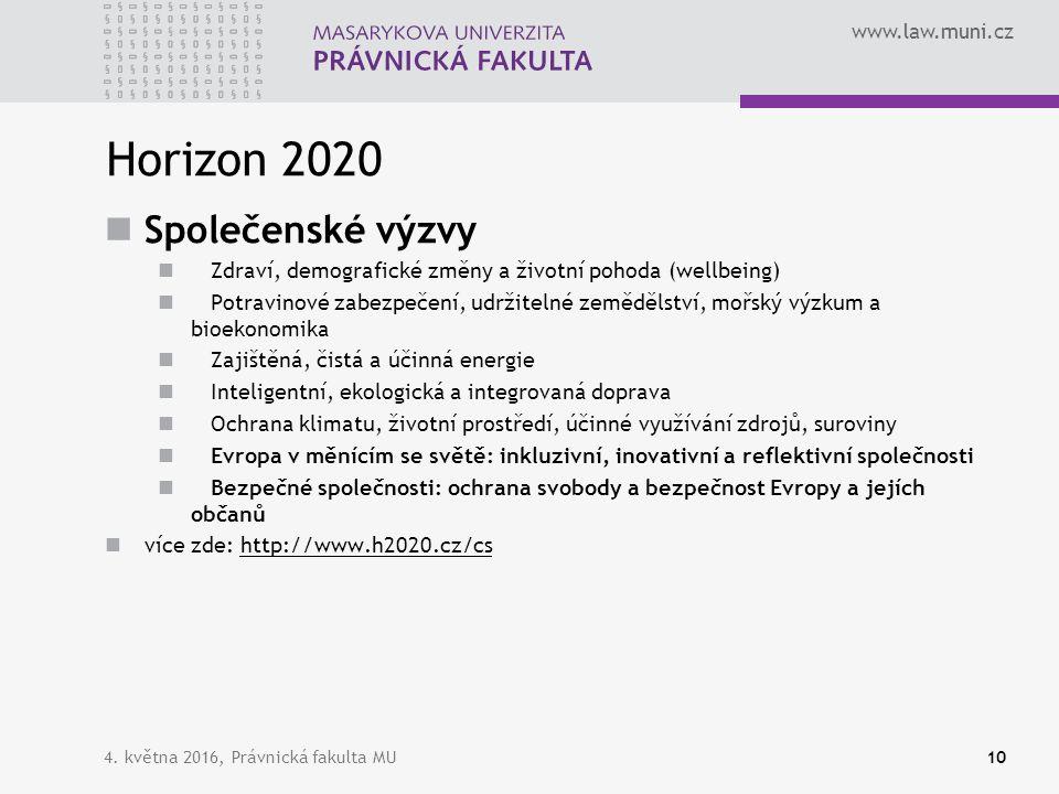 www.law.muni.cz Horizon 2020 Společenské výzvy Zdraví, demografické změny a životní pohoda (wellbeing) Potravinové zabezpečení, udržitelné zemědělství, mořský výzkum a bioekonomika Zajištěná, čistá a účinná energie Inteligentní, ekologická a integrovaná doprava Ochrana klimatu, životní prostředí, účinné využívání zdrojů, suroviny Evropa v měnícím se světě: inkluzivní, inovativní a reflektivní společnosti Bezpečné společnosti: ochrana svobody a bezpečnost Evropy a jejích občanů více zde: http://www.h2020.cz/cshttp://www.h2020.cz/cs 4.