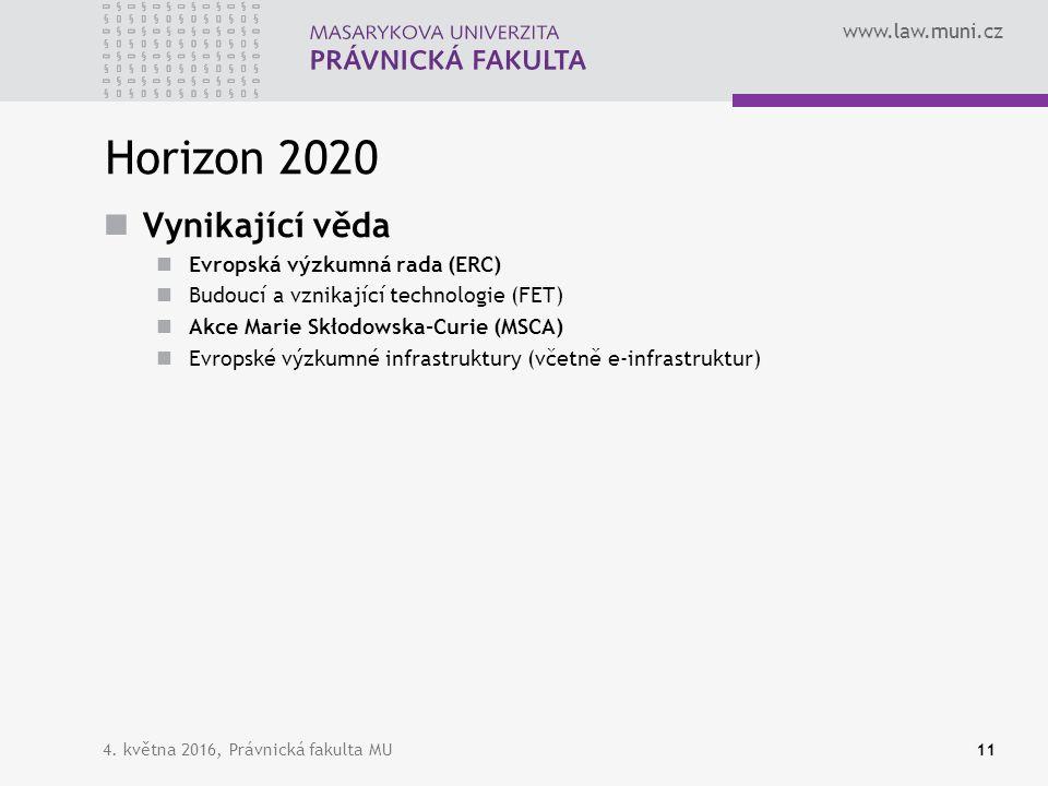 www.law.muni.cz Horizon 2020 Vynikající věda Evropská výzkumná rada (ERC) Budoucí a vznikající technologie (FET) Akce Marie Skłodowska-Curie (MSCA) Evropské výzkumné infrastruktury (včetně e-infrastruktur) 4.