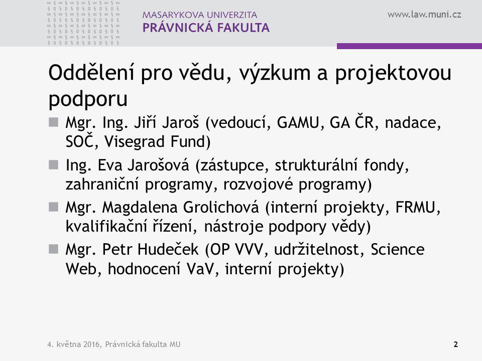 www.law.muni.cz 4. května 2016, Právnická fakulta MU2 Oddělení pro vědu, výzkum a projektovou podporu Mgr. Ing. Jiří Jaroš (vedoucí, GAMU, GA ČR, nada