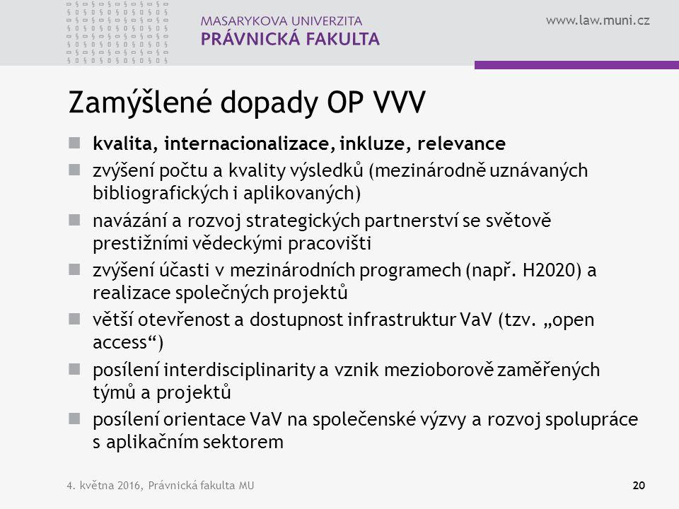 www.law.muni.cz Zamýšlené dopady OP VVV kvalita, internacionalizace, inkluze, relevance zvýšení počtu a kvality výsledků (mezinárodně uznávaných bibli