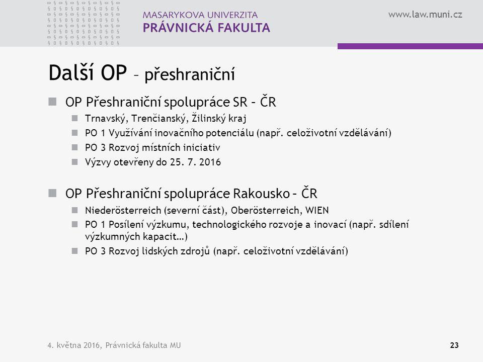 www.law.muni.cz Další OP – přeshraniční OP Přeshraniční spolupráce SR – ČR Trnavský, Trenčianský, Žilinský kraj PO 1 Využívání inovačního potenciálu (např.