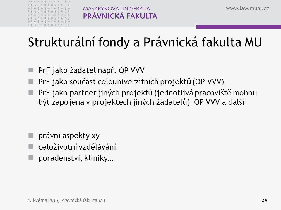 www.law.muni.cz Strukturální fondy a Právnická fakulta MU PrF jako žadatel např. OP VVV PrF jako součást celouniverzitních projektů (OP VVV) PrF jako