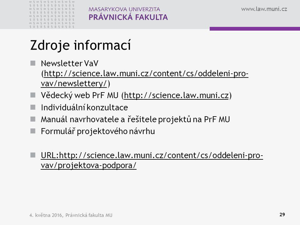 www.law.muni.cz Zdroje informací Newsletter VaV (http://science.law.muni.cz/content/cs/oddeleni-pro- vav/newslettery/)http://science.law.muni.cz/content/cs/oddeleni-pro- vav/newslettery/ Vědecký web PrF MU (http://science.law.muni.cz)http://science.law.muni.cz Individuální konzultace Manuál navrhovatele a řešitele projektů na PrF MU Formulář projektového návrhu URL:http://science.law.muni.cz/content/cs/oddeleni-pro- vav/projektova-podpora/ URL:http://science.law.muni.cz/content/cs/oddeleni-pro- vav/projektova-podpora/ 4.