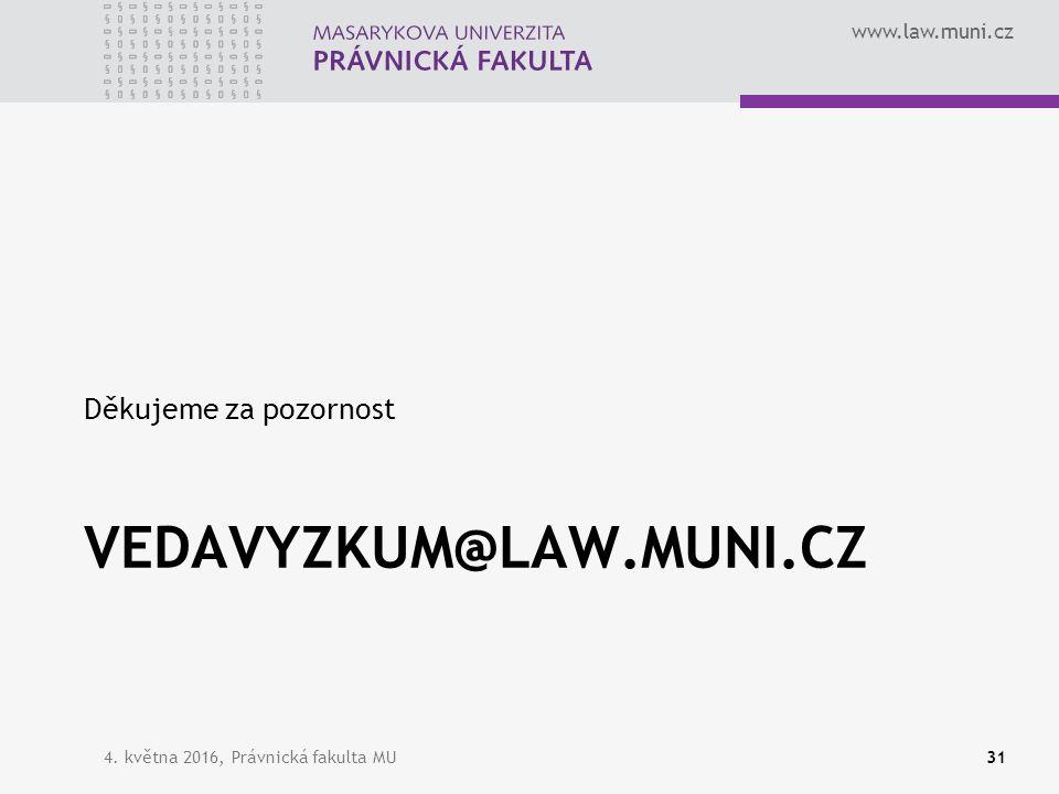 www.law.muni.cz VEDAVYZKUM@LAW.MUNI.CZ Děkujeme za pozornost 4. května 2016, Právnická fakulta MU31