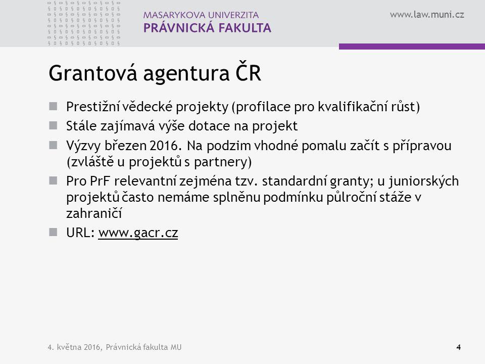 www.law.muni.cz 4. května 2016, Právnická fakulta MU4 Grantová agentura ČR Prestižní vědecké projekty (profilace pro kvalifikační růst) Stále zajímavá