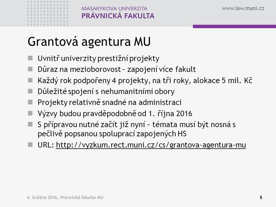 www.law.muni.cz Grantová agentura MU Uvnitř univerzity prestižní projekty Důraz na mezioborovost – zapojení více fakult Každý rok podpořeny 4 projekty