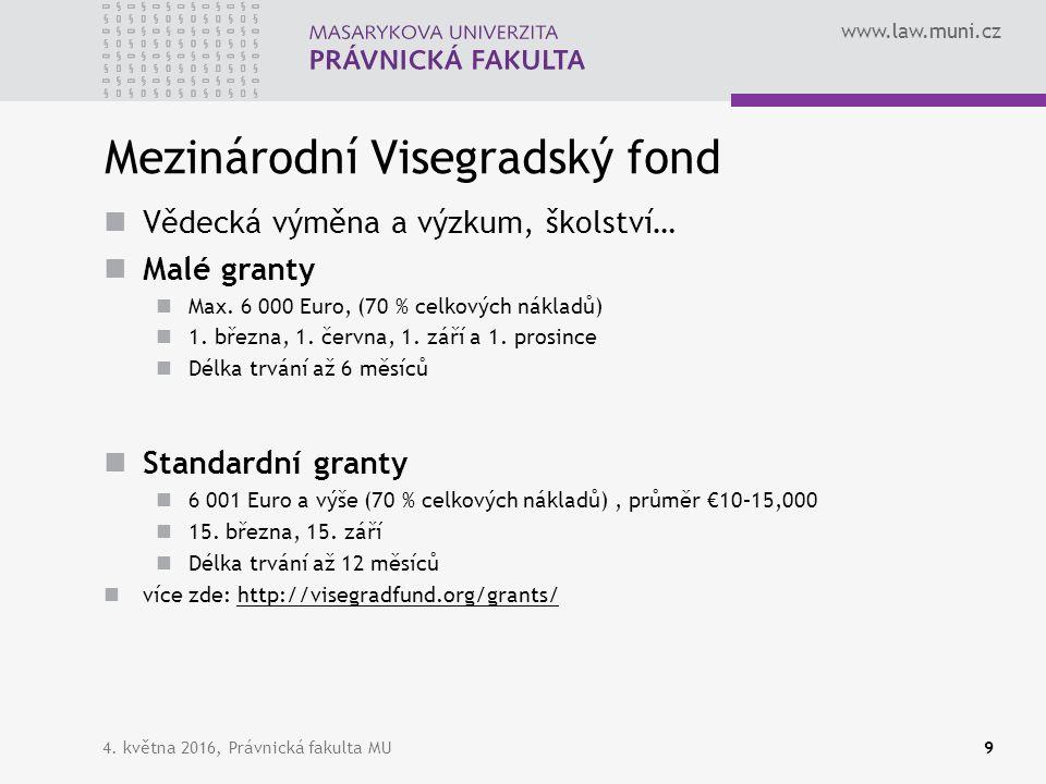 www.law.muni.cz Mezinárodní Visegradský fond Vědecká výměna a výzkum, školství… Malé granty Max. 6 000 Euro, (70 % celkových nákladů) 1. března, 1. če
