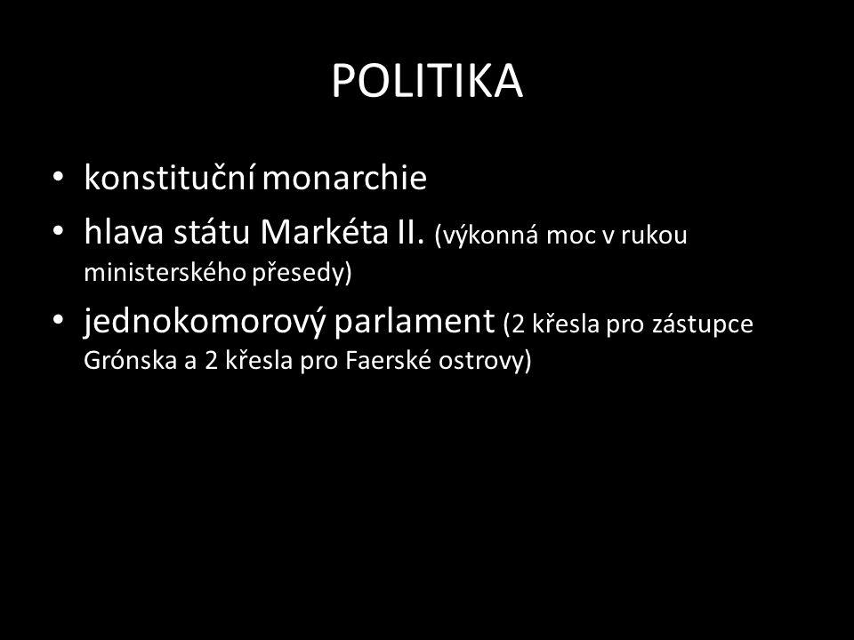 POLITIKA konstituční monarchie hlava státu Markéta II.