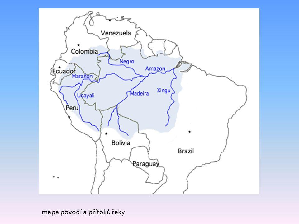 mapa povodí a přítoků řeky