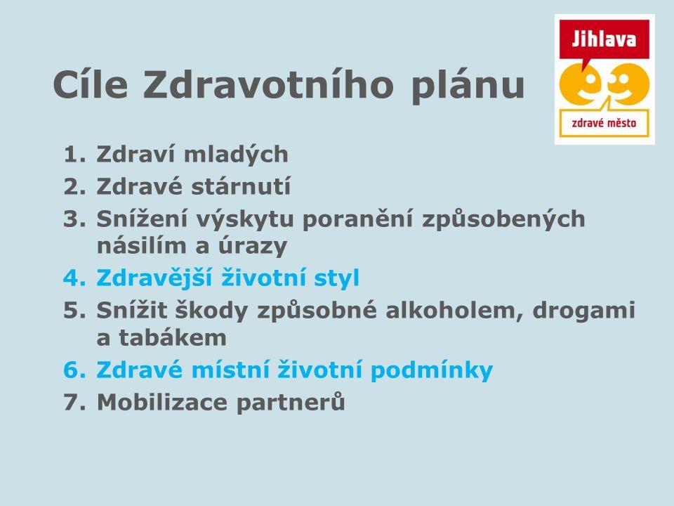 Cíle Zdravotního plánu 1.Zdraví mladých 2.Zdravé stárnutí 3.Snížení výskytu poranění způsobených násilím a úrazy 4.Zdravější životní styl 5.Snížit ško