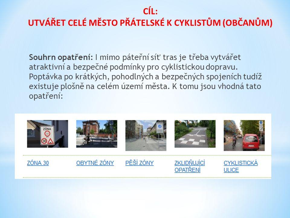 Souhrn opatření: I mimo páteřní síť tras je třeba vytvářet atraktivní a bezpečné podmínky pro cyklistickou dopravu. Poptávka po krátkých, pohodlných a