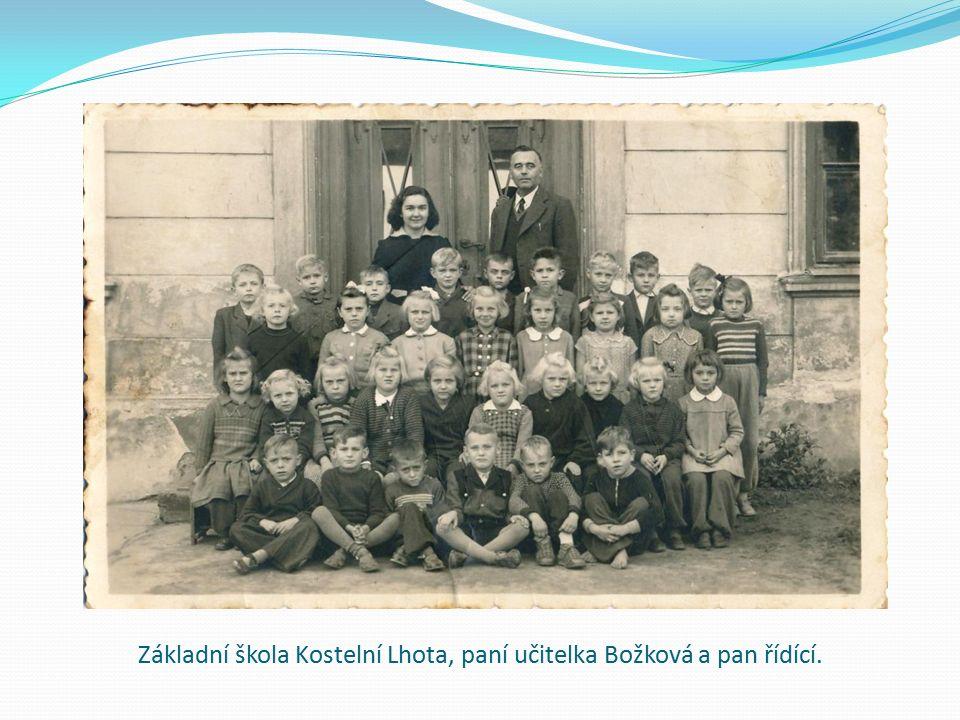 Základní škola Kostelní Lhota, paní učitelka Božková a pan řídící.