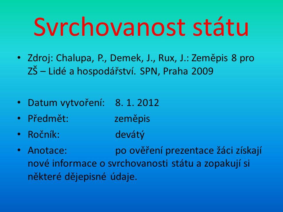 Svrchovanost státu Zdroj: Chalupa, P., Demek, J., Rux, J.: Zeměpis 8 pro ZŠ – Lidé a hospodářství.