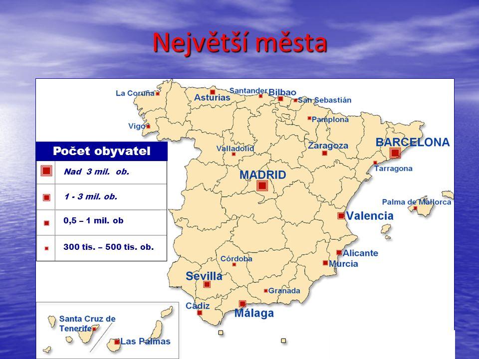 Největší města Počet obyvatel Nad 3 mil. ob. 1 - 3 mil. ob. 0,5 – 1 mil. ob 300 tis. – 500 tis. ob.