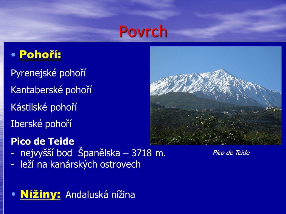 Povrch Pohoří: Pyrenejské pohoří Kantaberské pohoří Kástilské pohoří Iberské pohoří Pico de Teide - - nejvyšší bod Španělska – 3718 m.