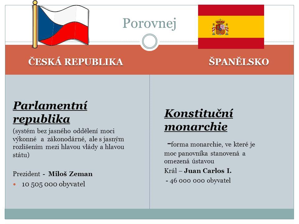 ČESKÁ REPUBLIKA ŠPANĚLSKO Parlamentní republika (systém bez jasného oddělení moci výkonné a zákonodárné, ale s jasným rozlišením mezi hlavou vlády a h