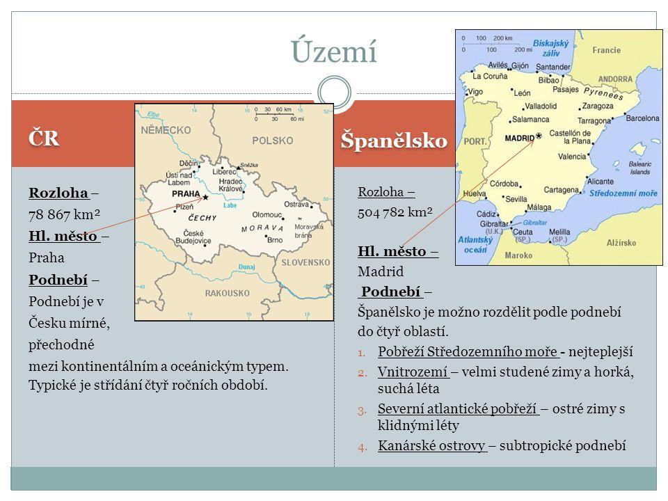 ČR Španělsko Rozloha – 78 867 km² Hl.