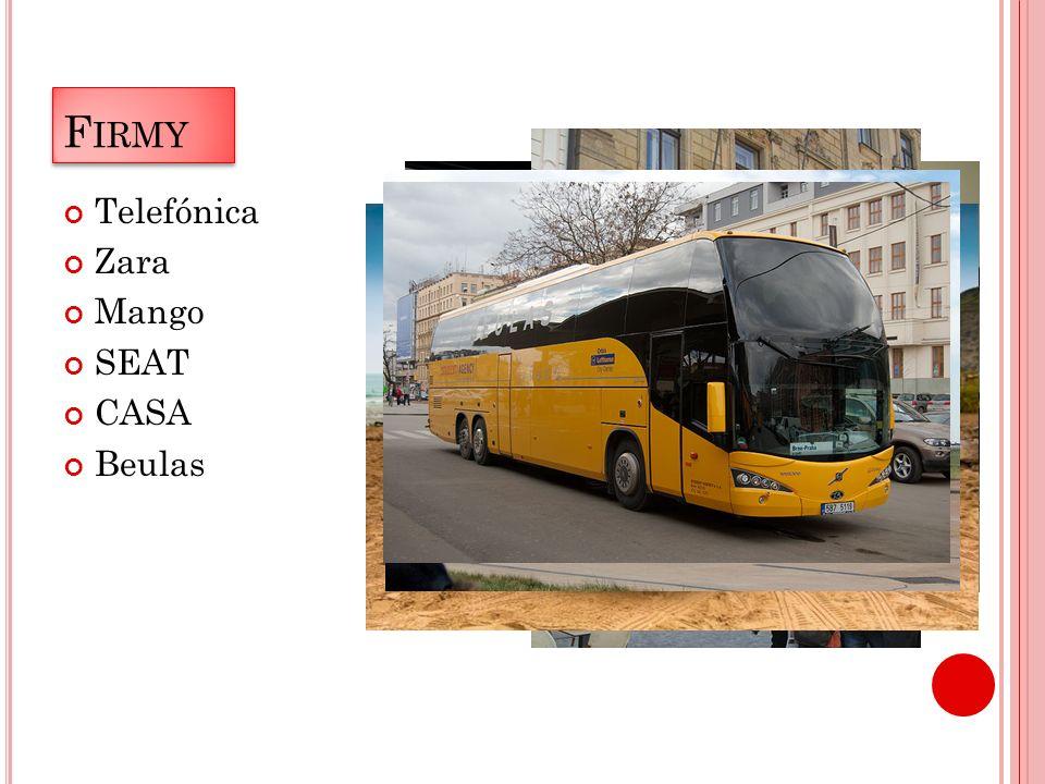 F IRMY Telefónica Zara Mango SEAT CASA Beulas