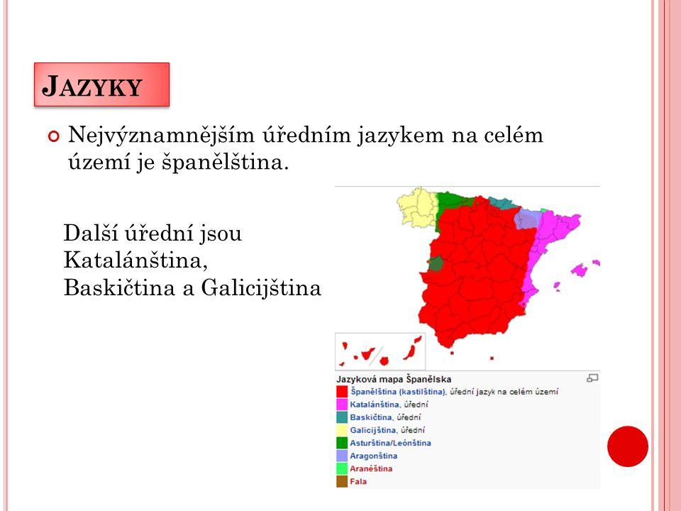J AZYKY Nejvýznamnějším úředním jazykem na celém území je španělština.