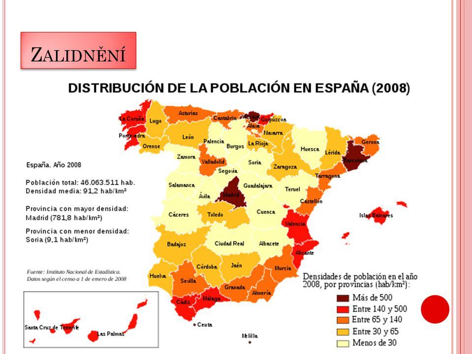 G EOFRAFIE Ve vnitrozemí vysoké náhorní plošiny Meseta León a La Mancha Pohoří Pyreneje, Sierra Nevada a Kantaberské pohoří Údolní nivy (př.