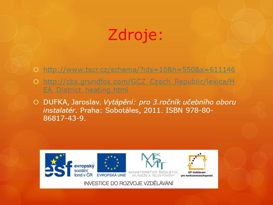 Zdroje:  http://www.tscr.cz/schema/ ids=10&h=550&x=611146 http://www.tscr.cz/schema/ ids=10&h=550&x=611146  http://cbs.grundfos.com/GCZ_Czech_Republic/lexica/H EA_District_heating.html http://cbs.grundfos.com/GCZ_Czech_Republic/lexica/H EA_District_heating.html  DUFKA, Jaroslav.