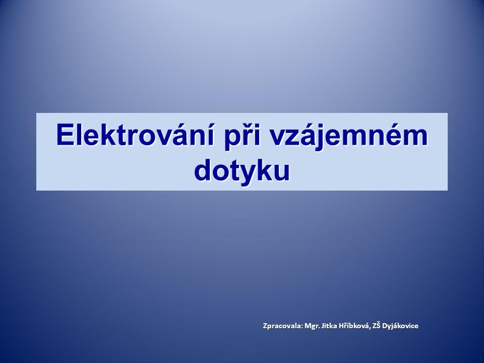 Elektrování při vzájemném dotyku Zpracovala: Mgr. Jitka Hříbková, ZŠ Dyjákovice