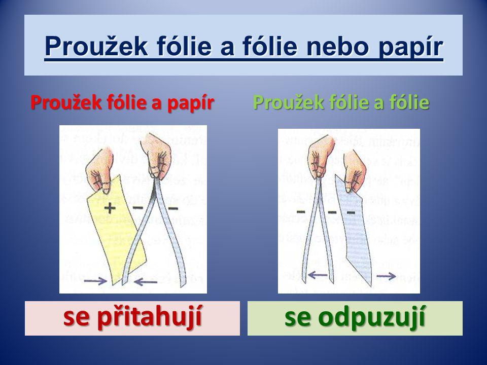Proužek fólie a fólie nebo papír Proužek fólie a fólie se odpuzují se přitahují Proužek fólie a papír