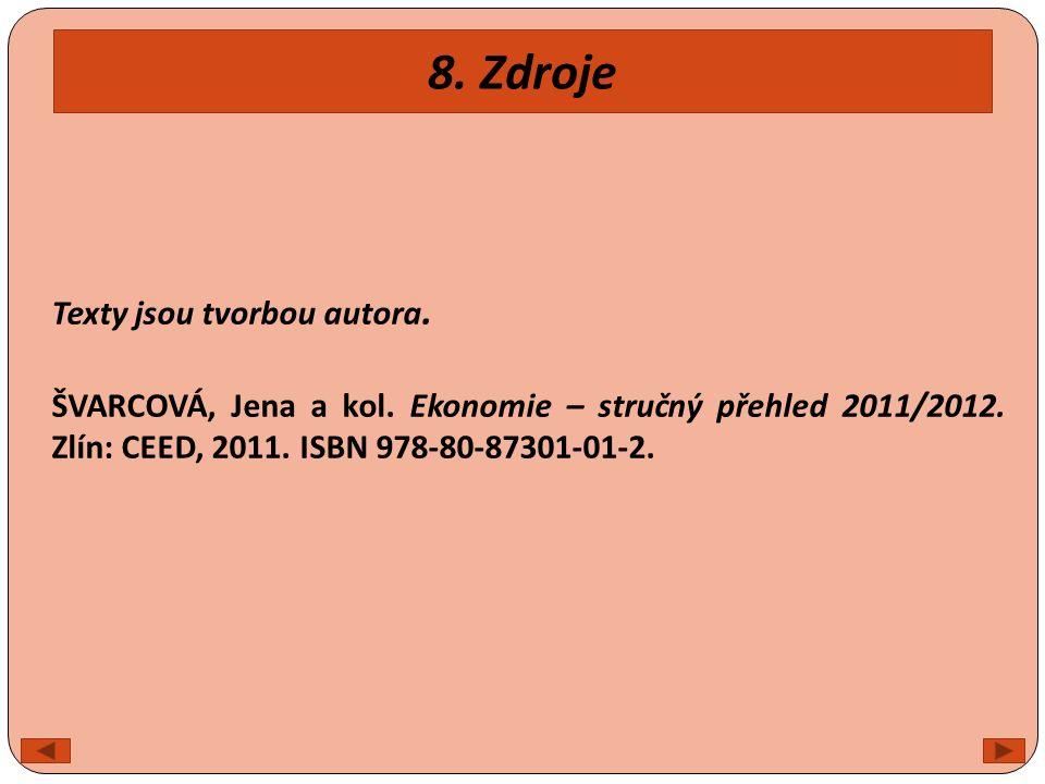8. Zdroje Texty jsou tvorbou autora. ŠVARCOVÁ, Jena a kol. Ekonomie – stručný přehled 2011/2012. Zlín: CEED, 2011. ISBN 978-80-87301-01-2.