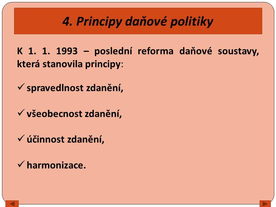 4. Principy daňové politiky spravedlnost zdanění, všeobecnost zdanění, účinnost zdanění, harmonizace. K 1. 1. 1993 – poslední reforma daňové soustavy,