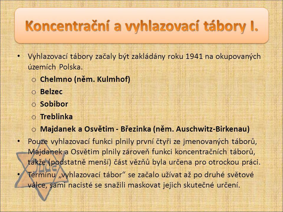 Vyhlazovací tábory začaly být zakládány roku 1941 na okupovaných územích Polska. o Chelmno (něm. Kulmhof) o Belzec o Sobibor o Treblinka o Majdanek a